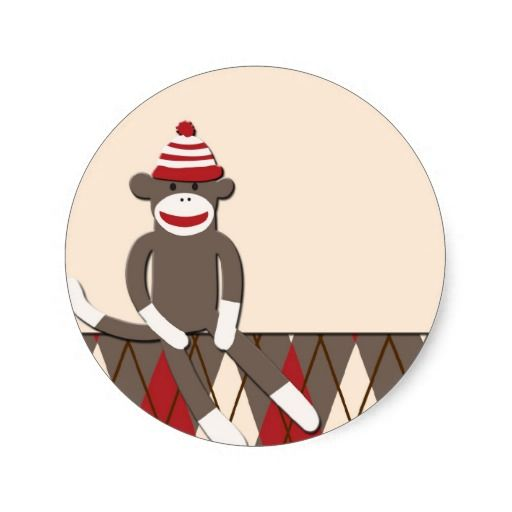 Argyle Sock Monkey Classic Round Sticker.