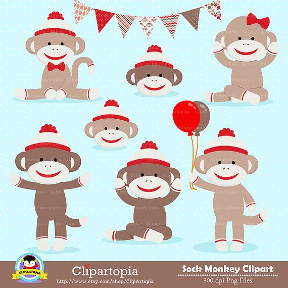 Free Printable Sock Monkey Clip Art 10.