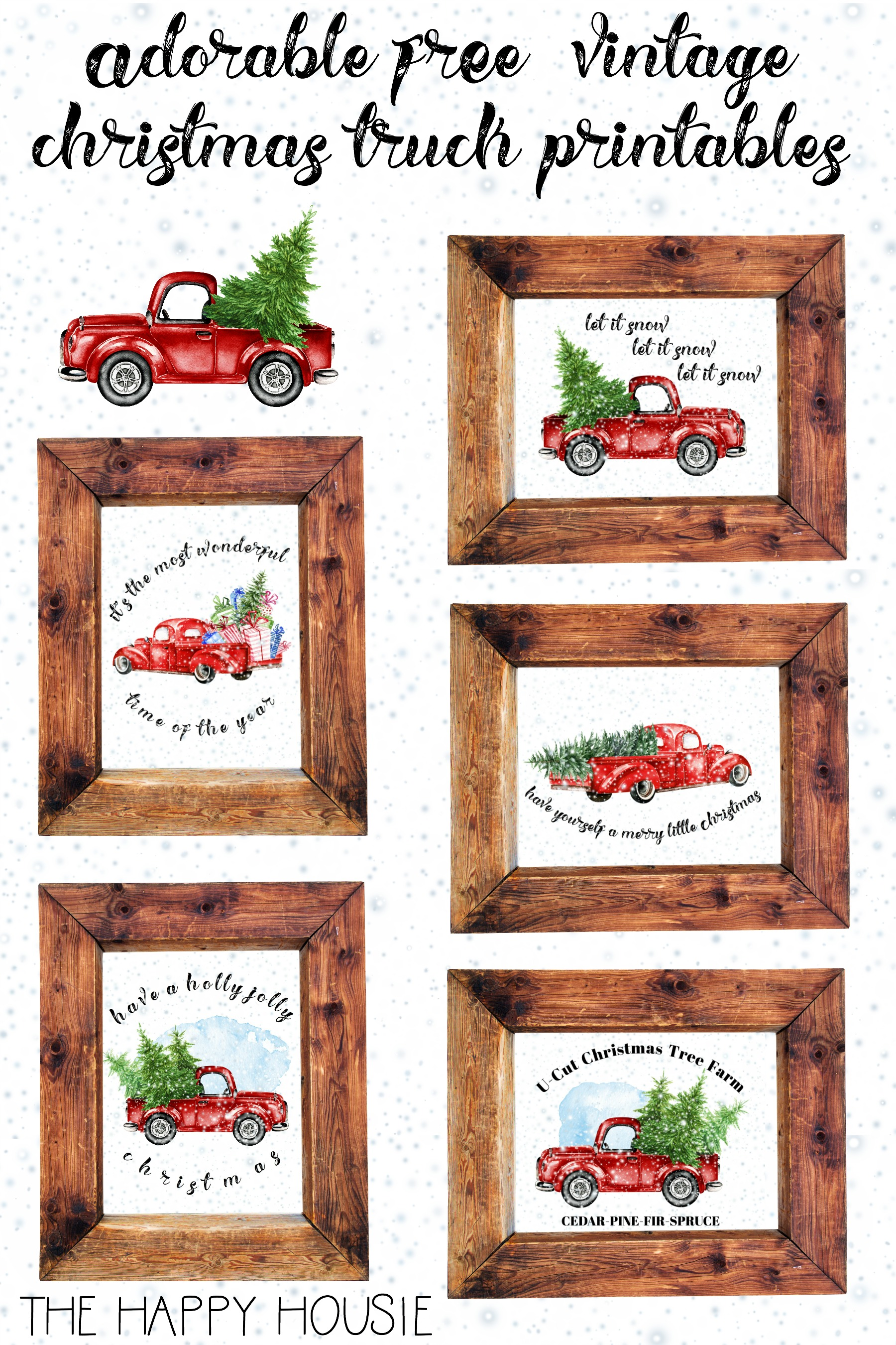 Vintage Free Printable Merry Christmas Clipart.