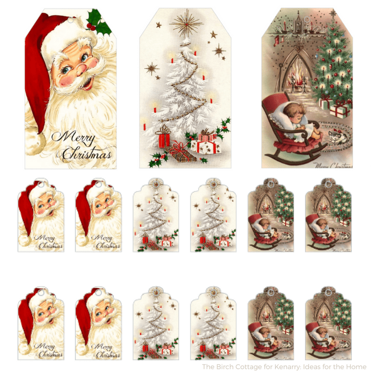 Download Free Printable Vintage Christmas Gift Tags for Holiday Wrapping.