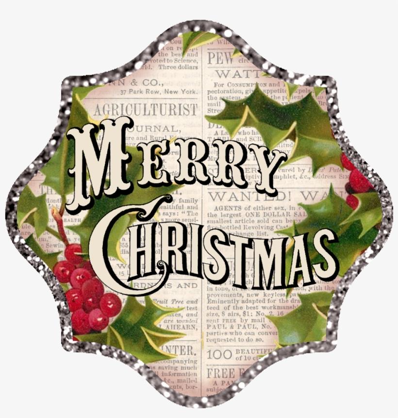 Transparent Vintage Merry Christmas Clipart.