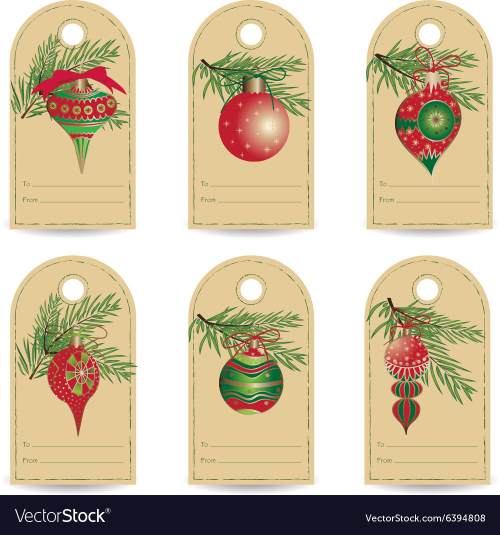 Set of vintage Christmas gift tags.