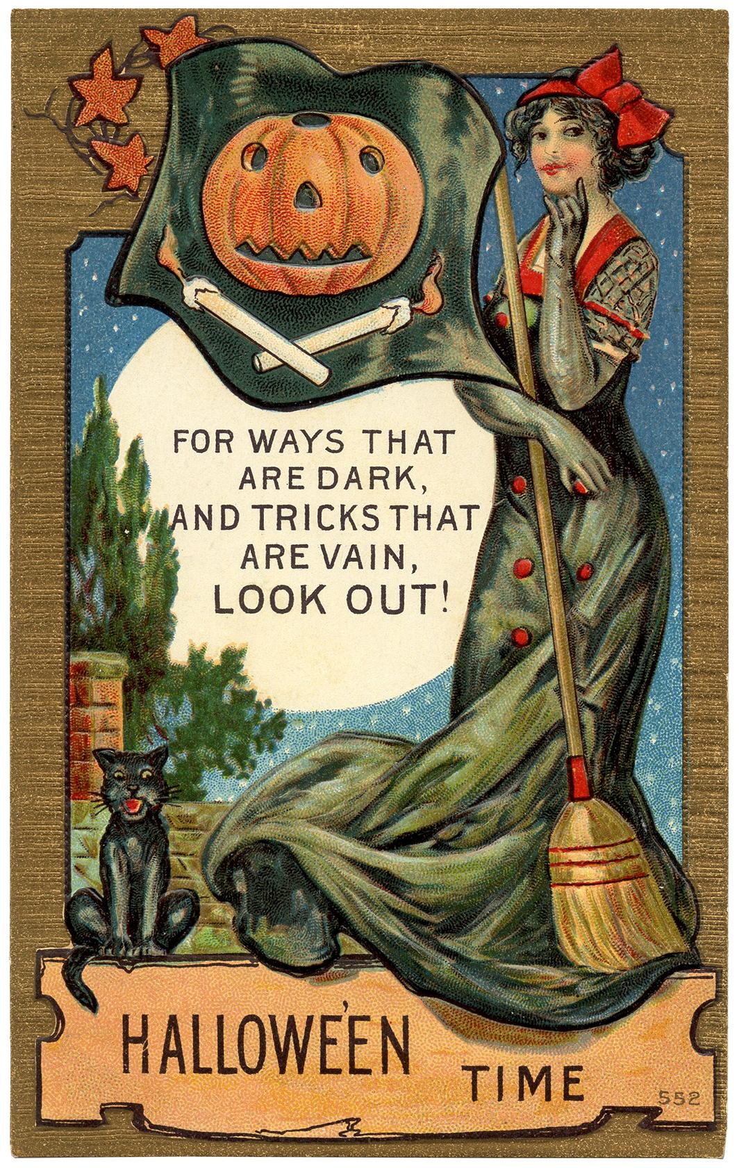 Vintage Halloween Postcard Image.