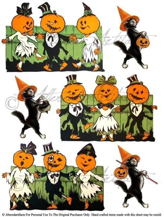 Printable Vintage Halloween Clip Art Pumpkin Dance Party Printable Retro  Scraps Black Cat Puppet Digital Collage Sheet Instant Download.
