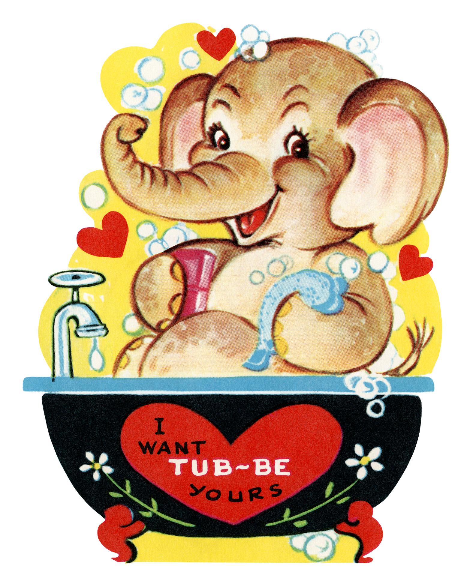 Free Printable Vintage Valentine Elephant in Tub.