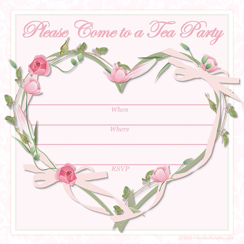 Tea party Wedding invitation Baby shower, Free Printable.