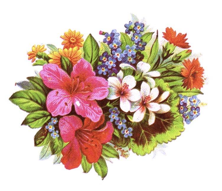 public domain vintage clipart of floral bouquet and leaves.