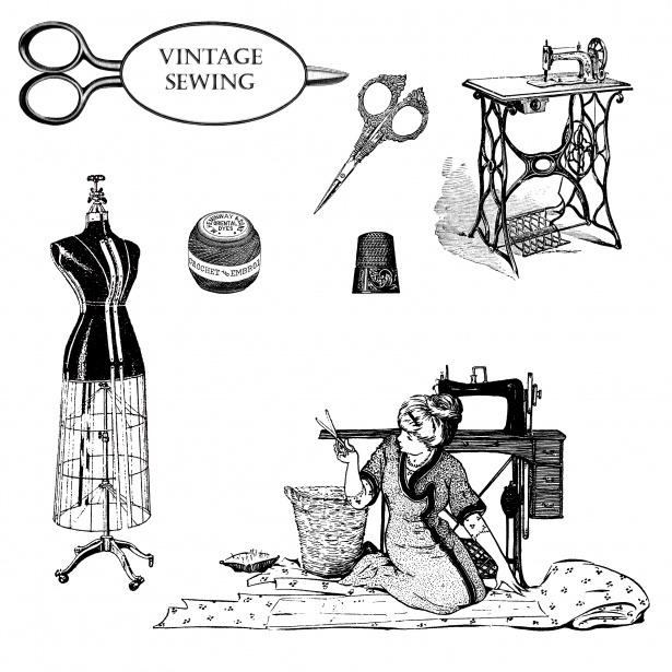 Vintage Dressmaking Clipart Free Stock Photo.