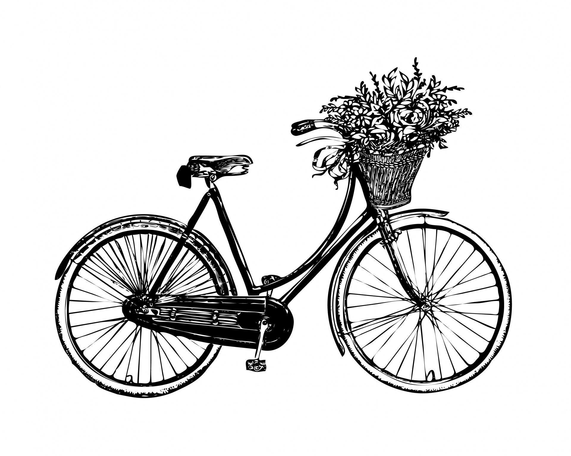 Bicycle Flowers Vintage Clipart Free Stock Photo.