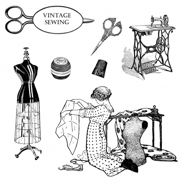 Vintage Sewing Clipart Free Stock Photo.
