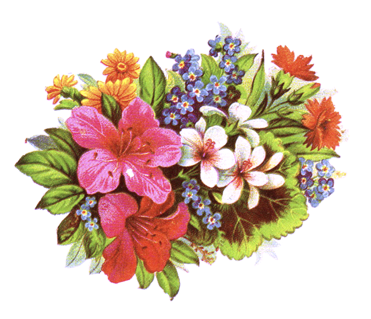 public domain vintage clipart of floral bouquet and leaves.