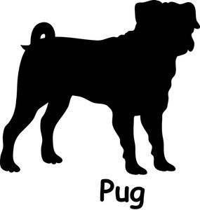 Free Pug Dog Clip Art Image: Pug dog silhouette with the.