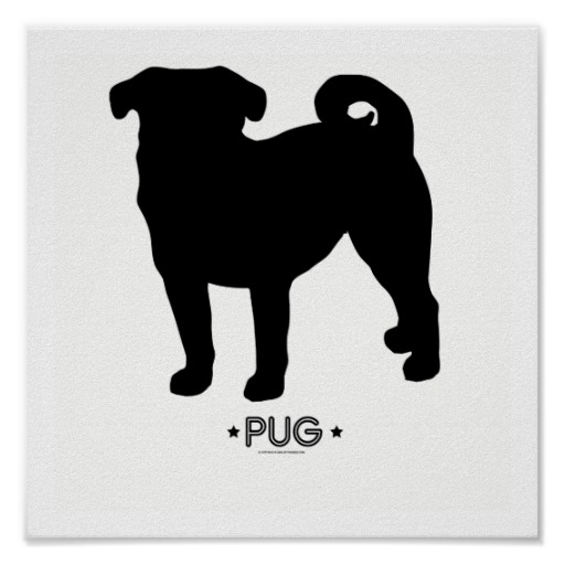 Free Pug Dog Clip Art Image: Pug dog silhouette with the word.