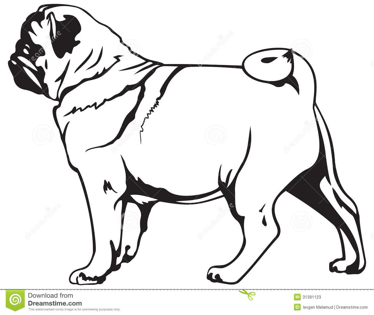 Free Pug Silhouette Clipart