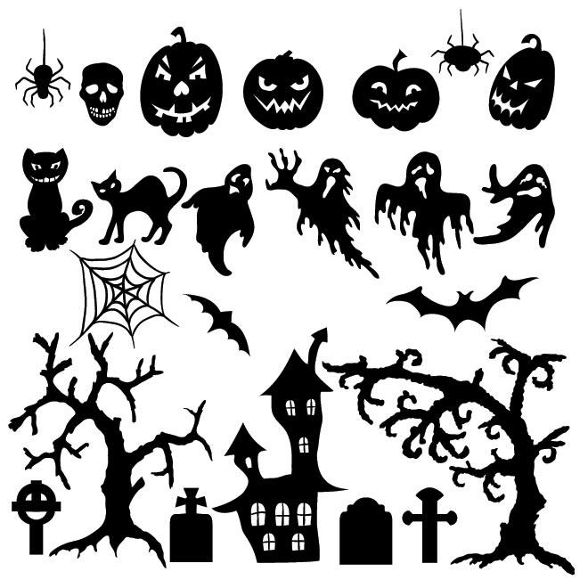 Vector set of Halloween silhouette pumpkin, bat, cat, an old tree.