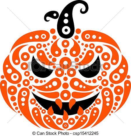 EPS Vector of Halloween pumpkin. Decorative pattern silhouette of.