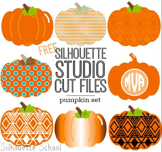 Set of Pumpkins Free Silhouette Studio Cut File.