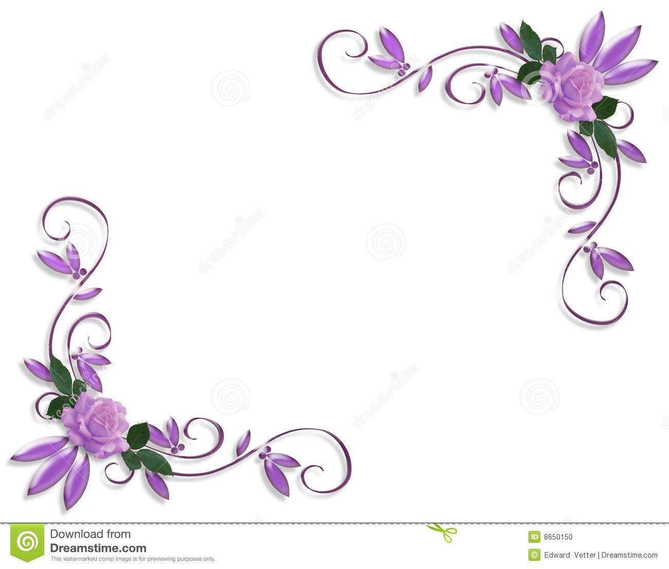 Purple Roses Corner Border Designs Stock Illustration.