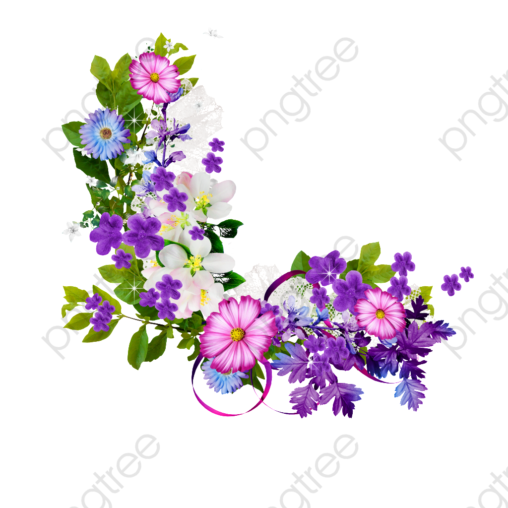 Bouquet Of Purple Flowers Border, Bouquet, Purple, Flowers PNG.
