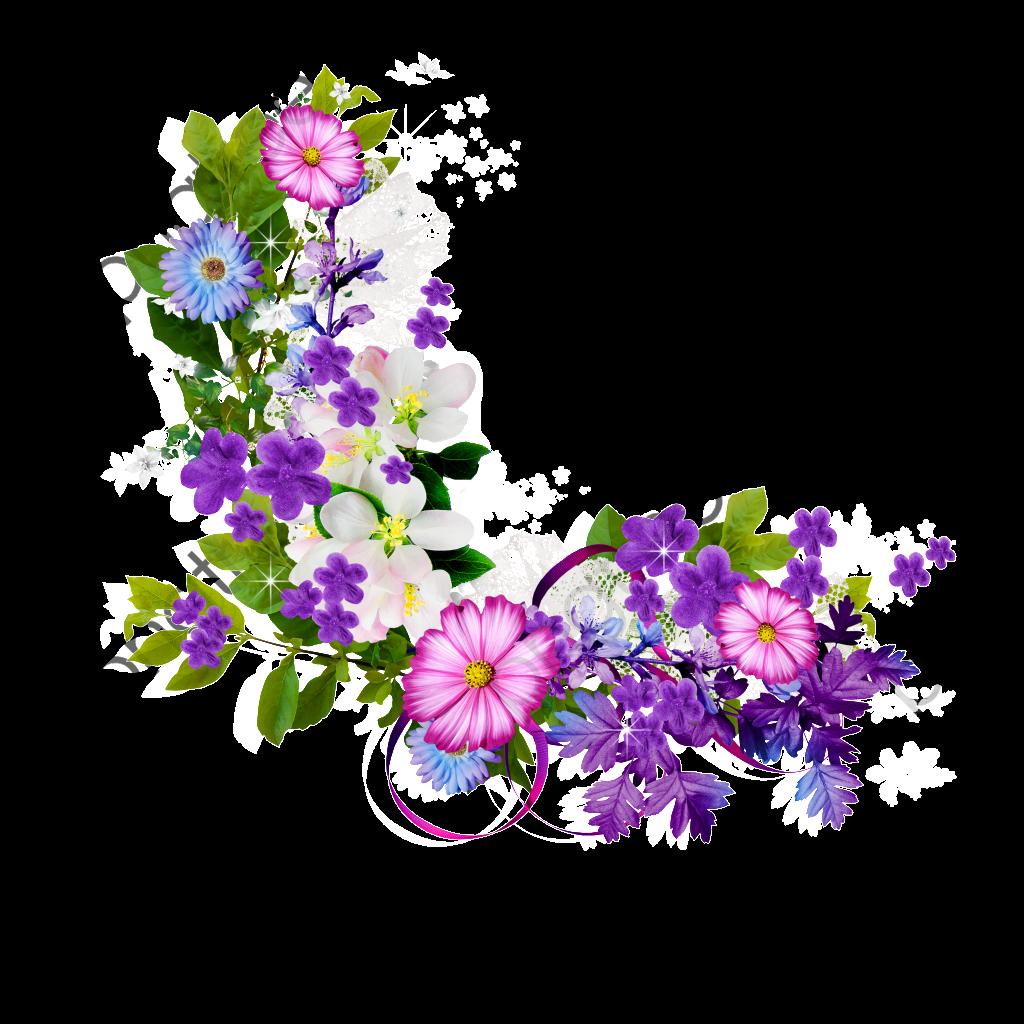 Bouquet Of Purple Flowers Border, Bouquet, Purple, Flowers PNG.