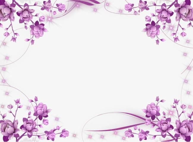 Symmetrical purple flowers border PNG clipart.