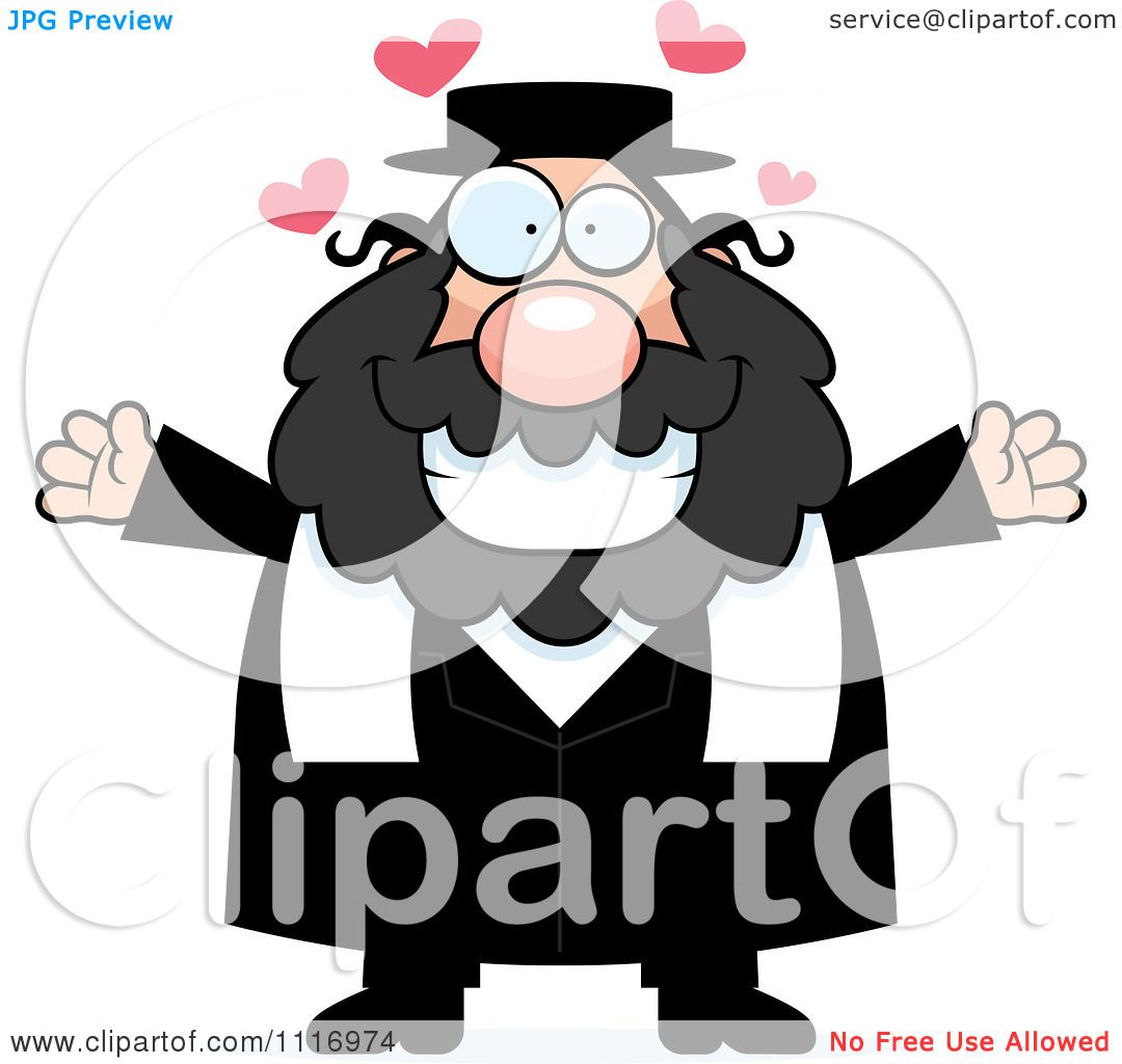 Vector Cartoon Loving Rabbi.