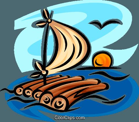 raft Royalty Free Vector Clip Art illustration.