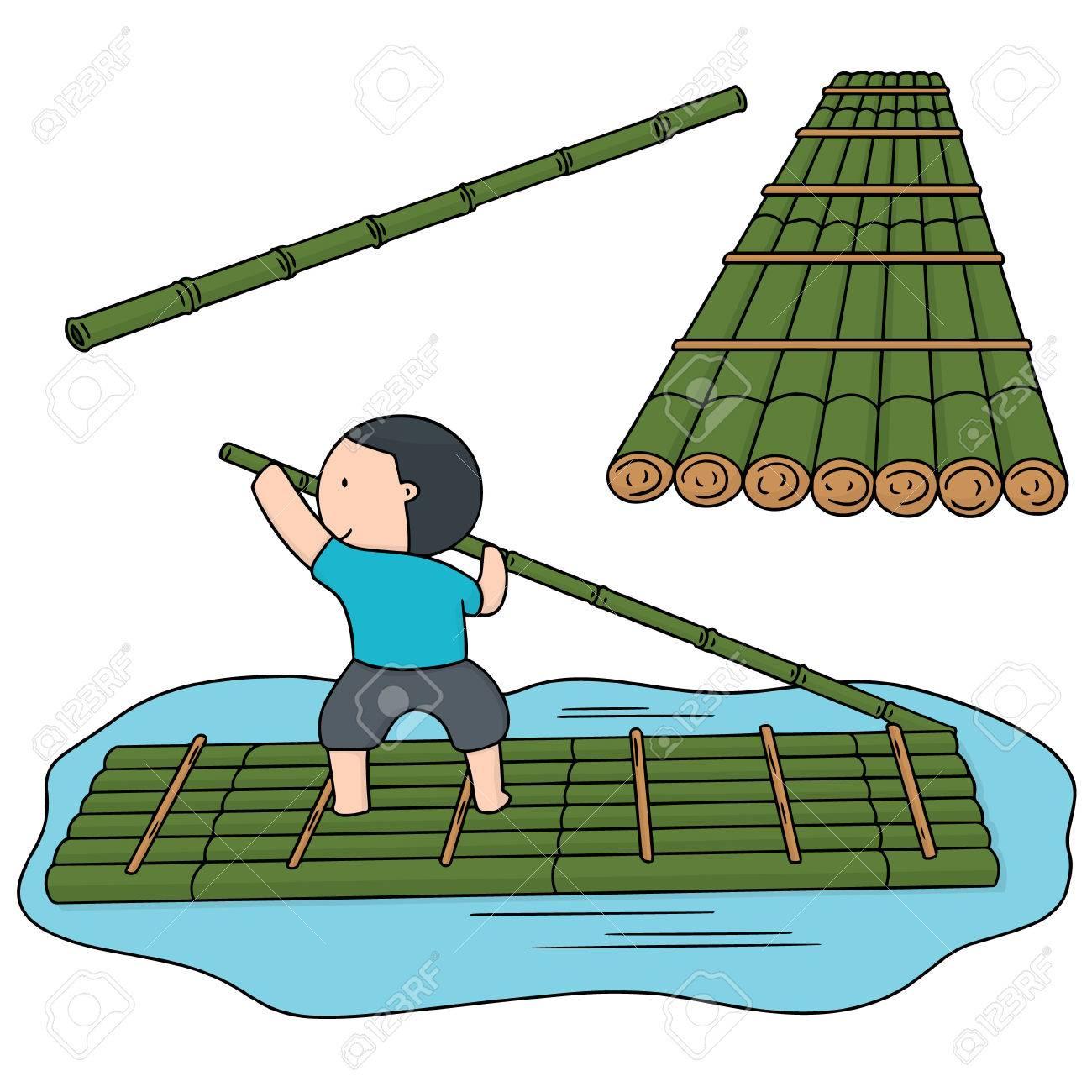 Bamboo Raft Clipart.