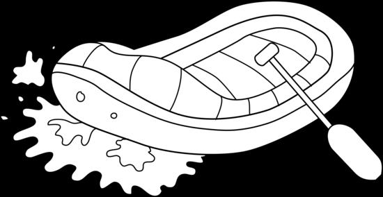White Water Rafting Line Art.