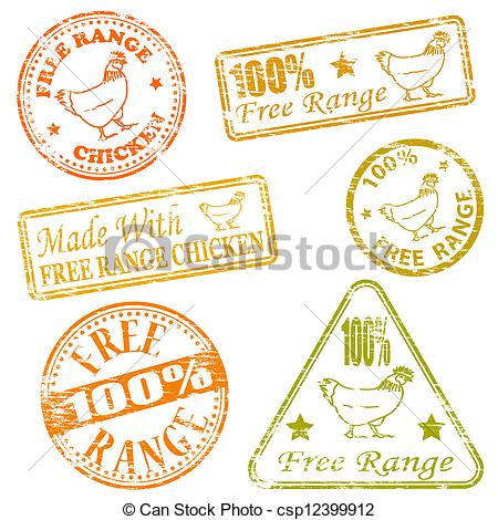 Vector Clip Art of Free Range Rubber Stamps.