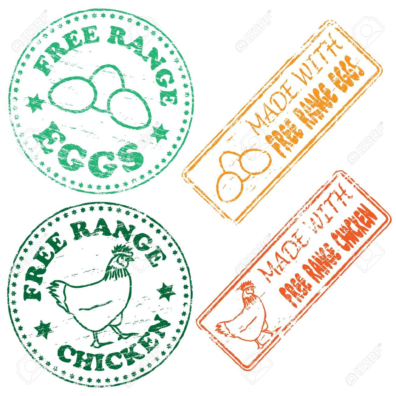 Free Range Chicken And Eggs Rubber Stamp Illustrations Royalty.
