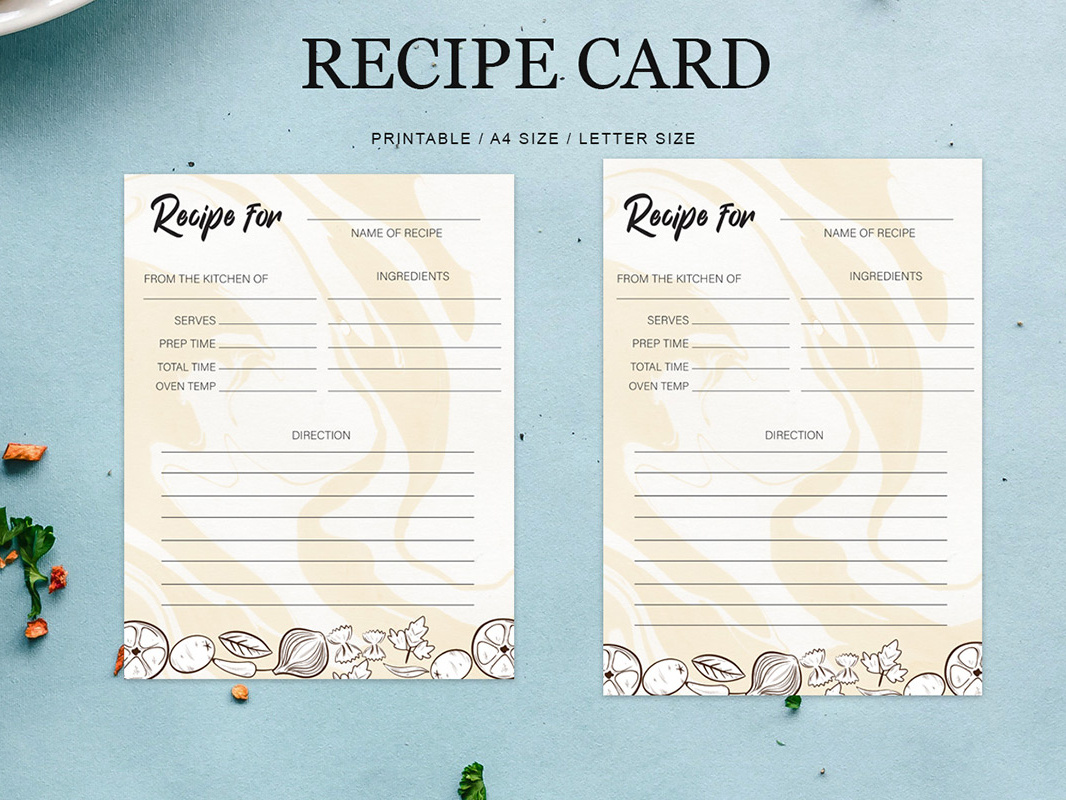 Free Recipe Card Printable Template by Farhan Ahmad on Dribbble.