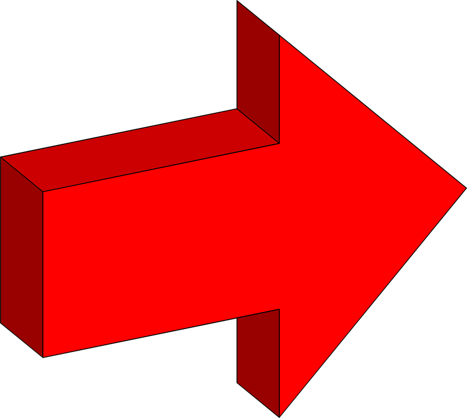 Free Stock Photo: Illustration of a right facing 3d red arrow.