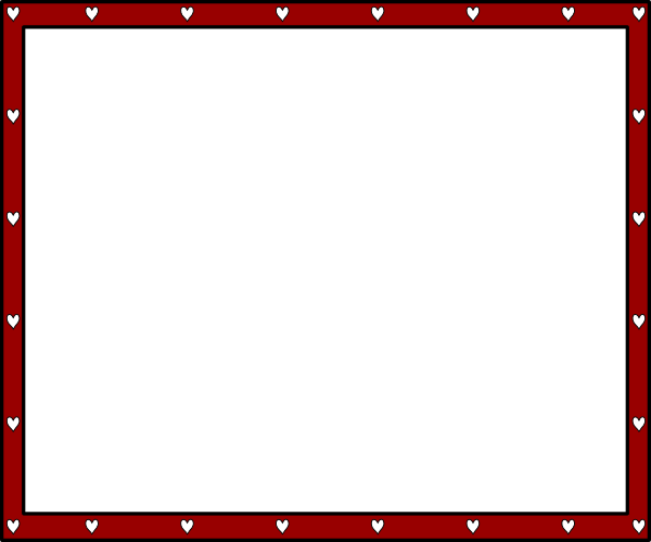 free red heart outline border clipart