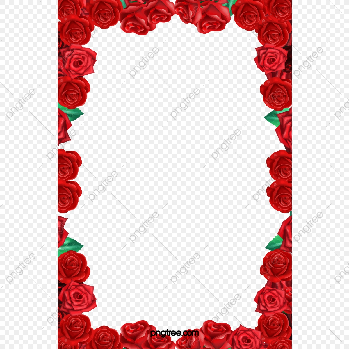 Rose Border, Rose Clipart, Red Rose, Frame PNG Transparent Clipart.