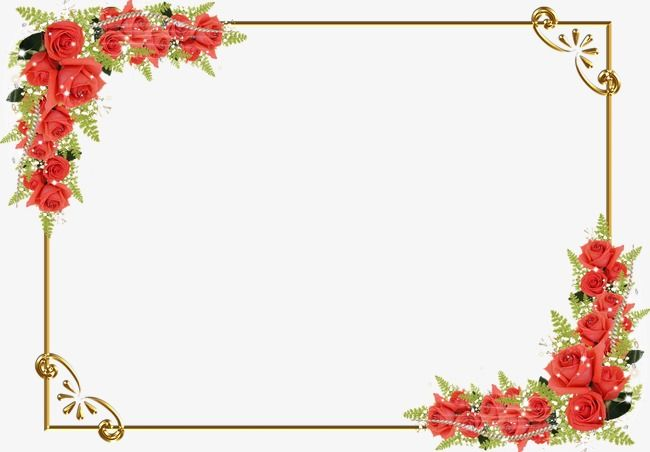 Red Flower Border, Red, Flower PNG Transparent Clipart Image.