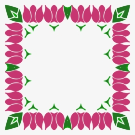Red Floral Border Png Pic.
