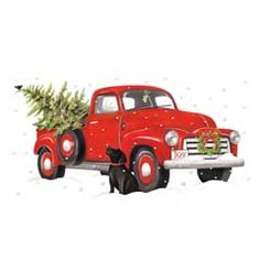 Vintage Red Truck With Christmas Tree Clipart.