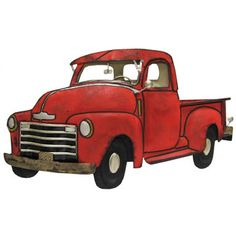 Vintage Red Truck Clipart.