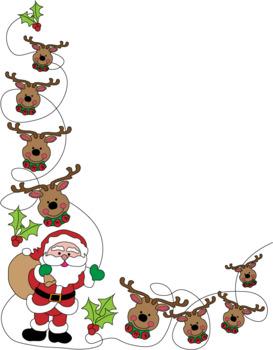 Reindeer Christmas Border Clipart.