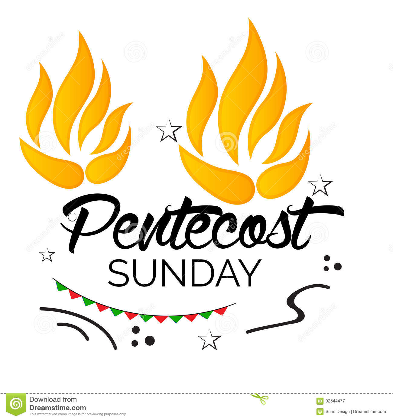 Pentecost Sunday. stock illustration. Illustration of flame.