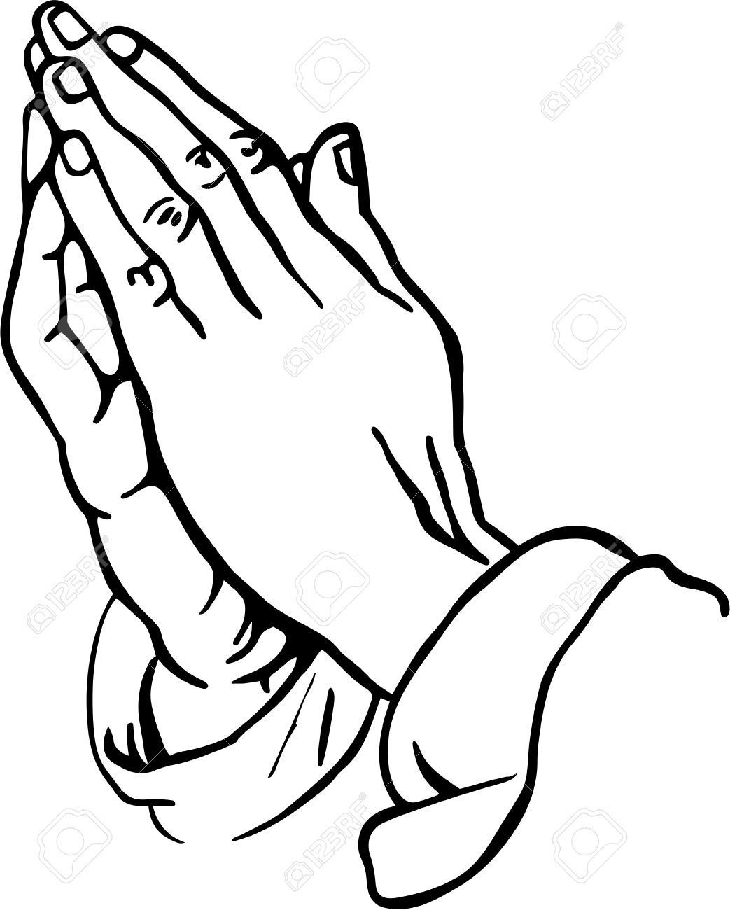 Praying Hands Clipart Stock Photo.