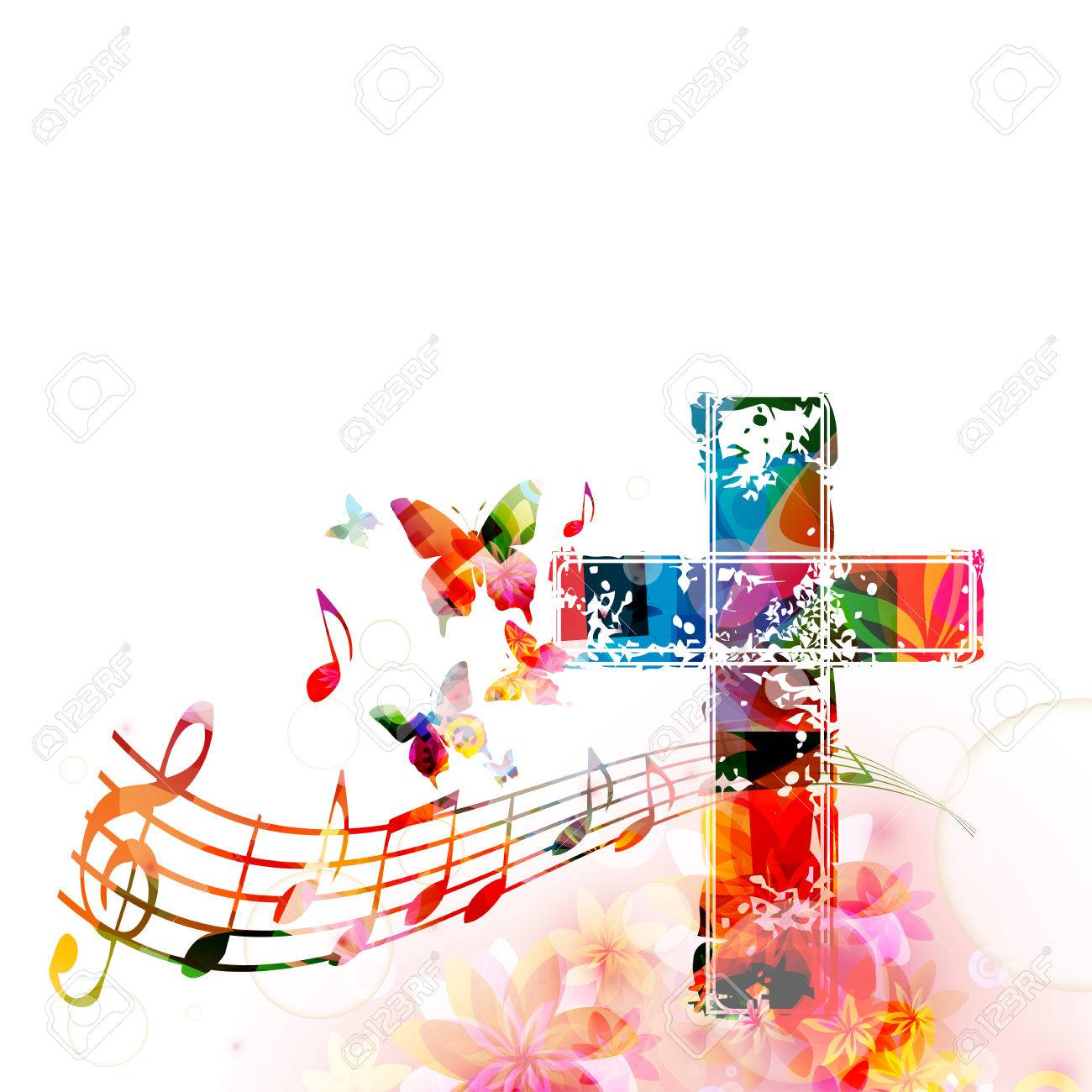 Colorful christian cross with music staff and notes isolated...