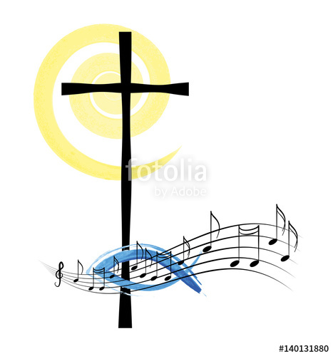 Musical notes with a cross, abstract religious christian music or.