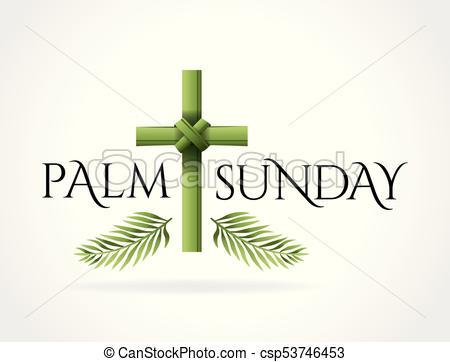 Christian Palm Sunday Cross Theme Illustration.