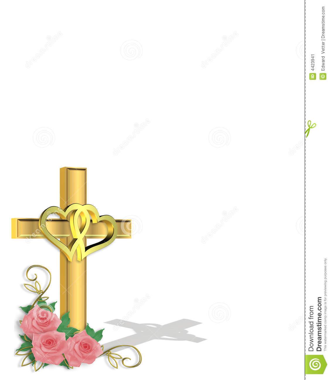 Wedding Invitation Christian Cross Stock Illustration.