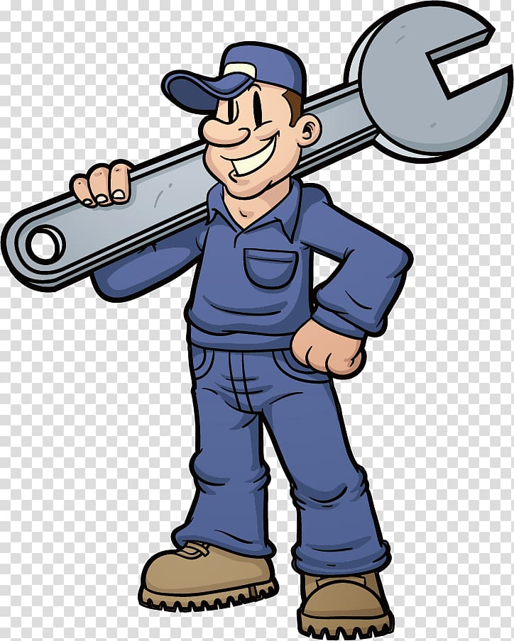 Mechanic with blue suit holding wrench illustration.