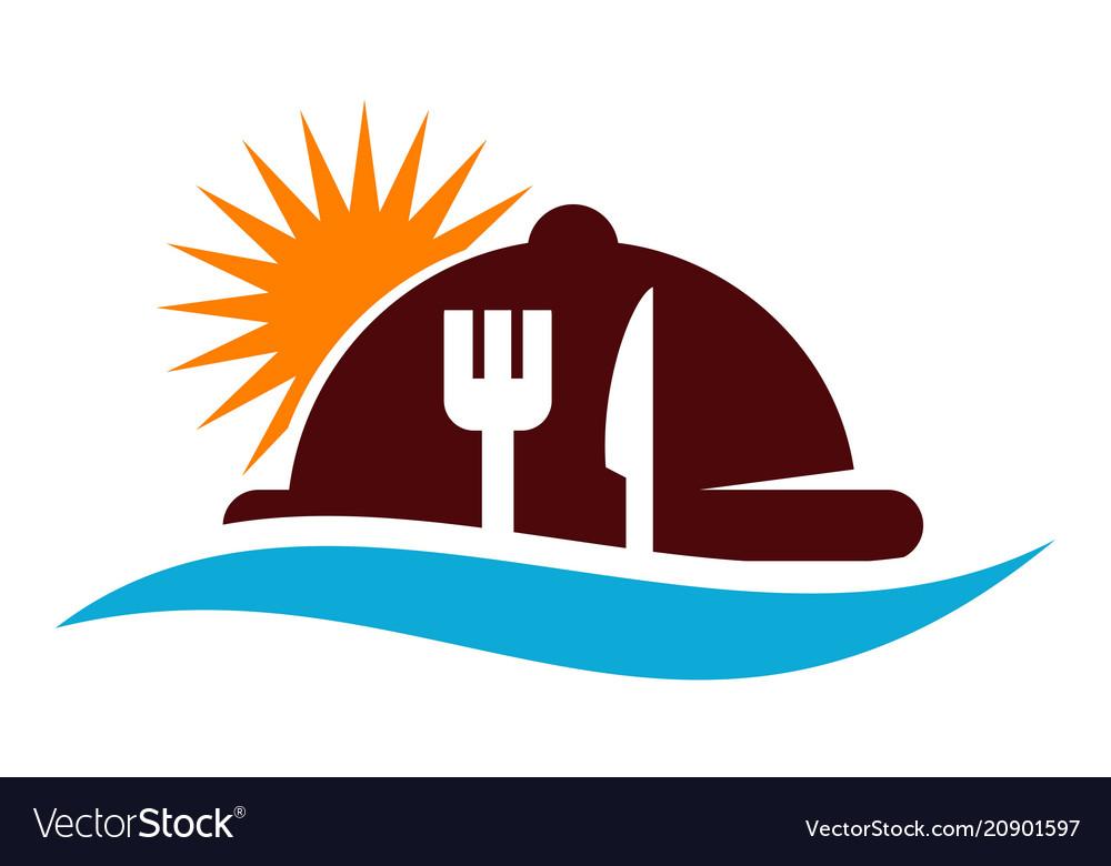 Beach restaurant logo design template.