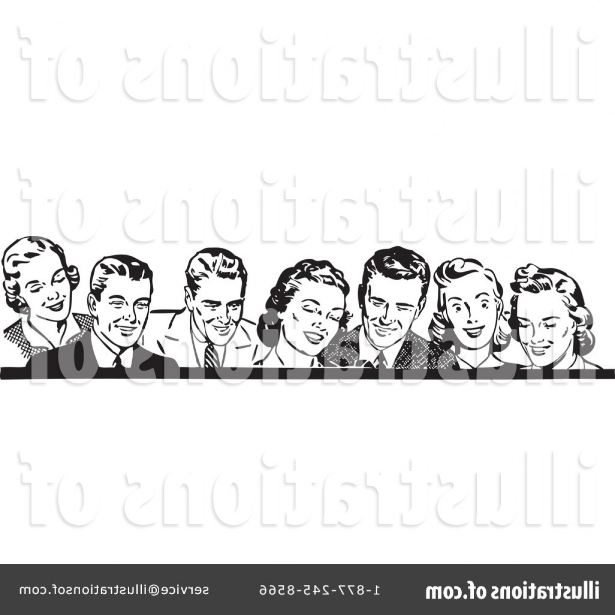 Excellent Royalty Free Retro People Clipart Illustration.