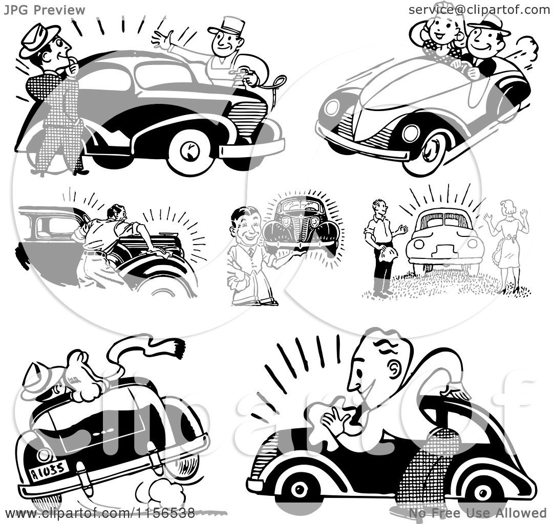 Clipart of Black and White Retro People with Cars.